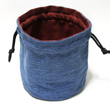Bucket Bag Denim & Red Stripes Upcycled Blue Jeans Travel Tote Toy Bag - US Shipping Included