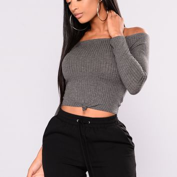 Katy Off The Shoulder Top - Charcoal