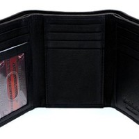 Paul & Taylor Men's Tall Trifold Genuine Leather Wallet Black