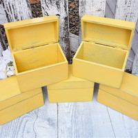 Bridesmaid GIft boxes - Yellow Rustic Wedding - Yellow SHABBY CHIC / Rustic Wood Recipe Boxes