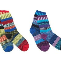 MISMATCHED SOCKS: POPPY & GRAPE | Frosty, Melting, Red, Blue, Sock, Winter | UncommonGoods
