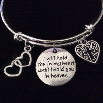 I will Hold you in my Heart Memory Bracelet Silver Expandable Charm Bangle Gift Adjustable Memorial Inspirational Meaningful