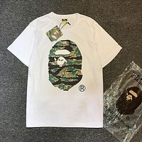 Bape Aape Stylish Women Men Casual Cartoons Camouflage Print Cotton Short Sleeve T-Shirt Top I