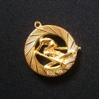 Vintage HOUSE OF BORVANI Gold Plated Three Dimensional Skier Charm or Pendant