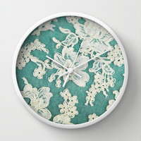 white lace - photo of vintage white lace Wall Clock by Sylvia Cook Photography