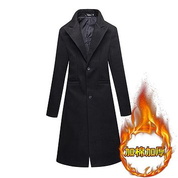 2017 Winter New Men's Fashion Fine Pure Color Wool Warm Thick Leisure Long Trench Coats / Man Black Upscale Long Trench Coats