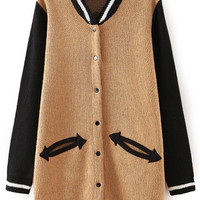 Khaki Black Long Sleeve Pockets Knit Cardigan