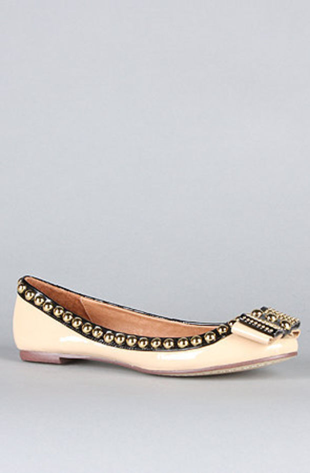 The Dauphine Flat in Nude Patent and Black