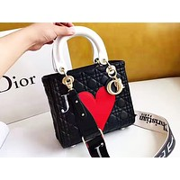 DIOR fashion casual ladies peach embroidery shopping bag hot selling shoulder bag