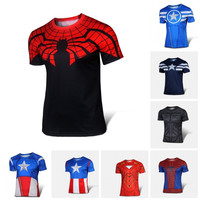 Free shipping 2015 t-shirt Superman/Batman/spider man/captain America /Hulk/Iron Man / t shirt men fitness shirts men t shirts