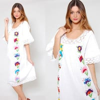 Vintage 70s MEXICAN Wedding Dress White EMBROIDERED Ethnic Pin Tuck Hippie Festival Midi Dress
