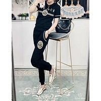 """Versace "" Woman's Leisure Fashion Pattern Letter  Print  Short Sleeve Trousers Two-Piece Set Casual Wear"