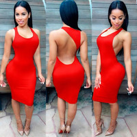 Women's Summer Style Sexy Backless O-Neck Night Club Bodycon Party Tank Sun Dress