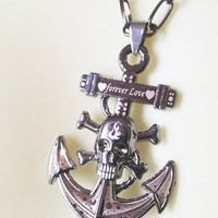 unisex SKULL ANCHOR NECKLACE black chain goth day of dead metal forever love pirate jewelry