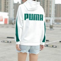 PUMA popular hoodie for casual couples stylish printed patchwork color back