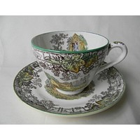 Vintage Spode Copeland Brown Transferware Tea Cup and Saucer Plate Mother Boy Dog