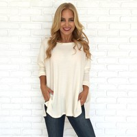 Cuddle In Cream Knit Sweater Top