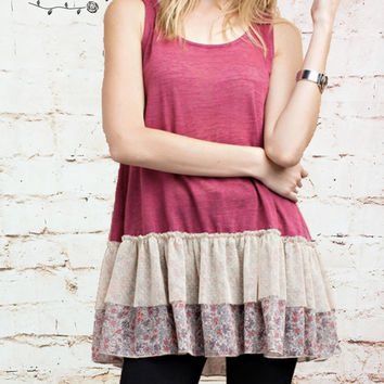 Sleeveless Floral Ruffle Tunic - Dark Pink - Small only