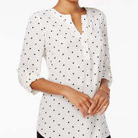 Maison Jules Roll-Tab-Sleeve Blouse, Only at Macy's - Tops - Women - Macy's