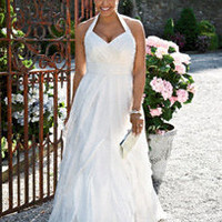 Soft Chiffon A-Line Gown with Ruffled Skirt - David's Bridal
