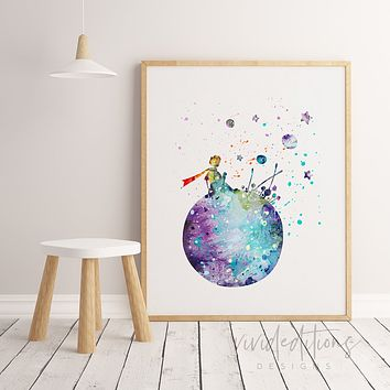 Little Prince 2 Watercolor Art Print