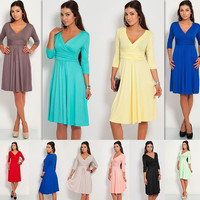 Elegant Womens Tunic 3/4 Sleeve mini Dress V-Neck Cocktail Jersey Maternity Evening pregnancy = 1946513604