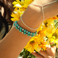 Bead Stone Bracelet Arm Candy Stackable Turquoise Silver Rose Bead Gypsy Hipster Hand Piece Jewelry Charm Bohemian
