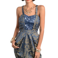 Sequin Inset Paisley Print Dress