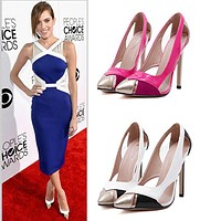 All-match Fashion Super Star Women Heels Shoes Shallow Mouth Hollow Pointed Head Shoes