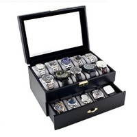 Caddy Bay Collection Black Classic Watch Case Display Box With Clear Glass Top Holds 20 Watches with Microfiber Cleaning Cloth