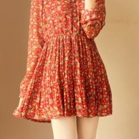 Dollhouse Whimsy Long Sleeve Floral Dress in Rouge | Sincerely Sweet Boutique