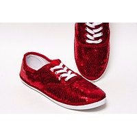 Select Your Color of Big Sequin Canvas Oxford Sneakers