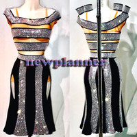 Women Latin Rhythm Rumba Salsa Samba Dance Dress US 12 UK 14 Flesh Black Sliver