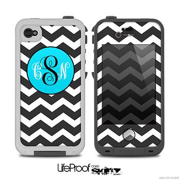 The Black & White Chevron Pattern with Blue Monogram Skin for the iPhone 4-4s or 5 LifeProof Case