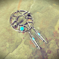 Dream Catcher Tribal Nipple Shield with Turquoise and Feathers