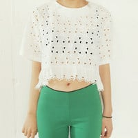 Punch Laced Frilly Cropped Blouse