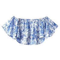 Blue Off Shoulder Ruffle Sleeve Crop Top
