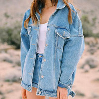 womens moto vintage style washed blue denim jackets denim coat trench