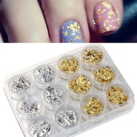12 PCS Nail Art Gold Silver Paillette Flake Chip Foil DIY Acrylic UV Gel Pager (Color: Gold & Silver) = 5658848897