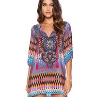 Printed Neck-Tying Mini Dress with Sleeve