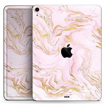 "Rose Pink Marble & Digital Gold Frosted Foil V12 - Full Body Skin Decal for the Apple iPad Pro 12.9"", 11"", 10.5"", 9.7"", Air or Mini (All Models Available)"