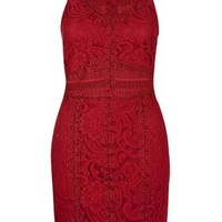 TALL Lace Bodycon Dress - Berry Red