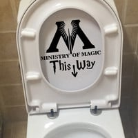 Art Design Ministry Of Magic Bathroom wall home decor Toilet Decal Funny Harry Potter Parody Wall decals