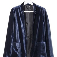 Relaxed Velvet Blazer by Boutique - Navy Blue