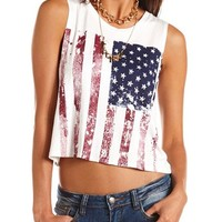 Distressed Americana Muscle Tank: Charlotte Russe