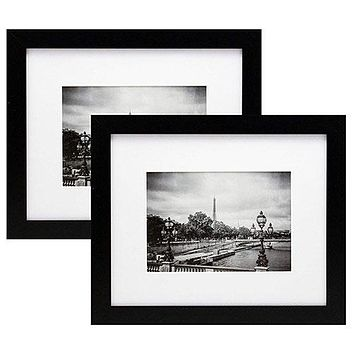 8x10 Black Picture Frames with 5x7 Inch Mat - 2-Pack - Wide Molding