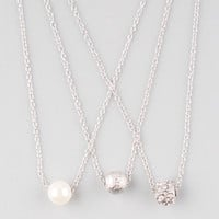 Full Tilt 3 Piece Diamond Dust/Fireball/Pearl Necklaces Silver One Size For Women 25145414001