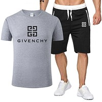 GIVENCHY Summer Fashion Men Women Casual Print T-Shirt Top Shorts Set Two-Piece Grey