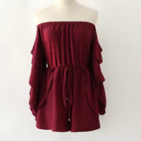 Summer dress new style slim - fitting one-character collared long - sleeved romper
