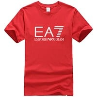 Emporio Armani New fashion bust letter print couple top t-shirt Red